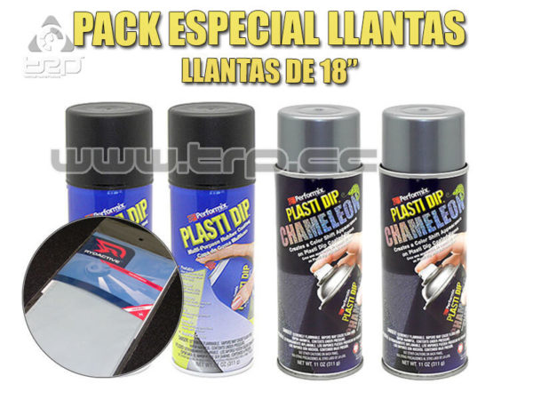 Plastidip Pack 4 Sprays Negro + Camaleon Turq Especial Llantas