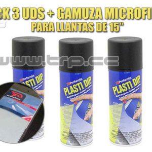 Plastidip 3 Sprays Negro Mate + Microfi (Especial Llantas 15)
