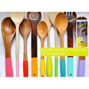 Conjunto de cucharas de madera decoradas por inmersión con ppintura líquida PlastiDip