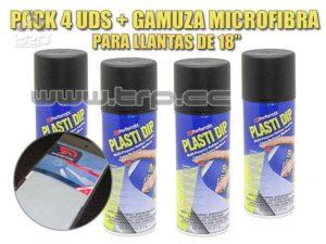 Plastidip 4 Sprays Negro Mate + Microfi (Especial Llantas 18)